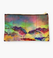 ITS A ROSE COLORED LIFE 4 Floral Rainbow Red Blue Yellow Green Flowers Abstract Acrylic Painting Fine Art Studio Pouch