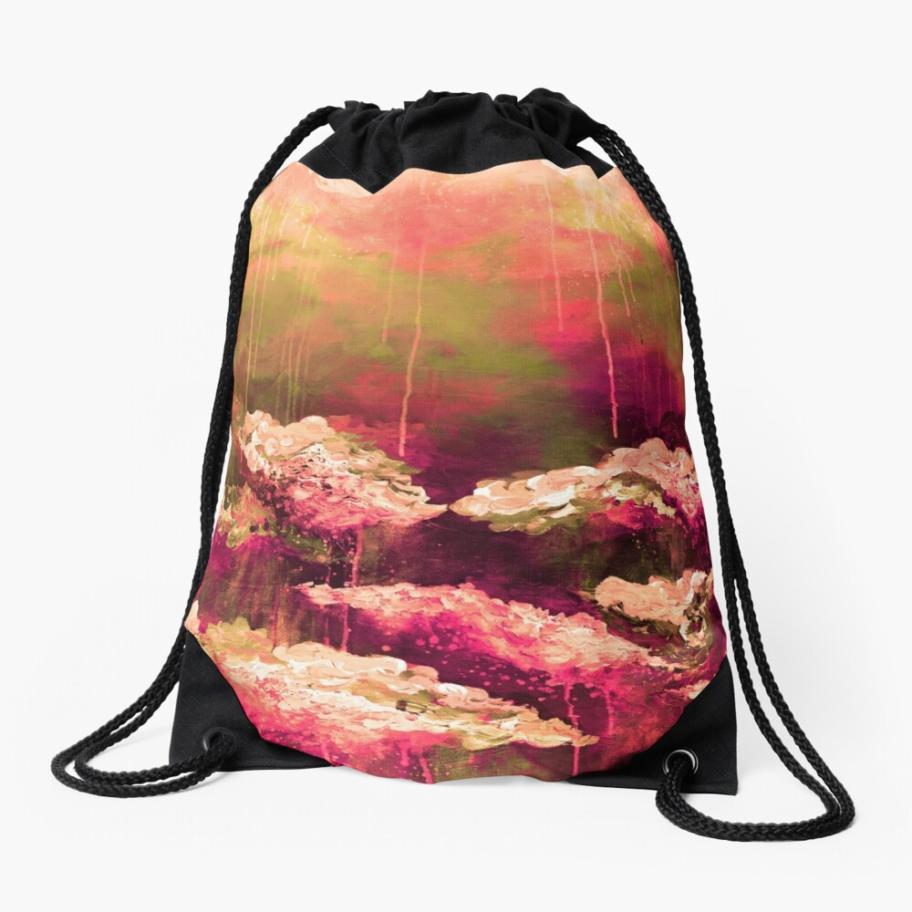 ITS A ROSE COLORED LIFE Floral Hot Pink Marsala Olive Green Flowers Abstract Acrylic Painting Fine Art Drawstring Bag
