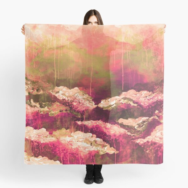 ITS A ROSE COLORED LIFE Floral Hot Pink Marsala Olive Green Flowers Abstract Acrylic Painting Fine Art Scarf