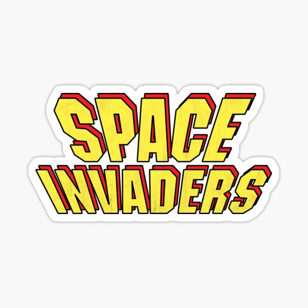SPACE INVADERS classic logo yellow Sticker
