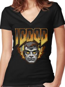 IDDQD - GOD MODE Women's Fitted V-Neck T-Shirt