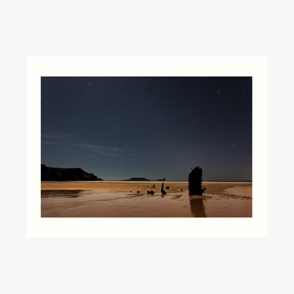 Helvetia Wreck and Worms Head, Rhossili Bay, Gower, Wales ` Art Print
