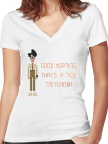 The IT Crowd – Good Morning, That's a Nice Tnetennba Women's Fitted V-Neck T-Shirt