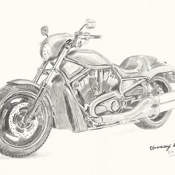 Harley Davidson Fat Boy pencil drawing by tqueen