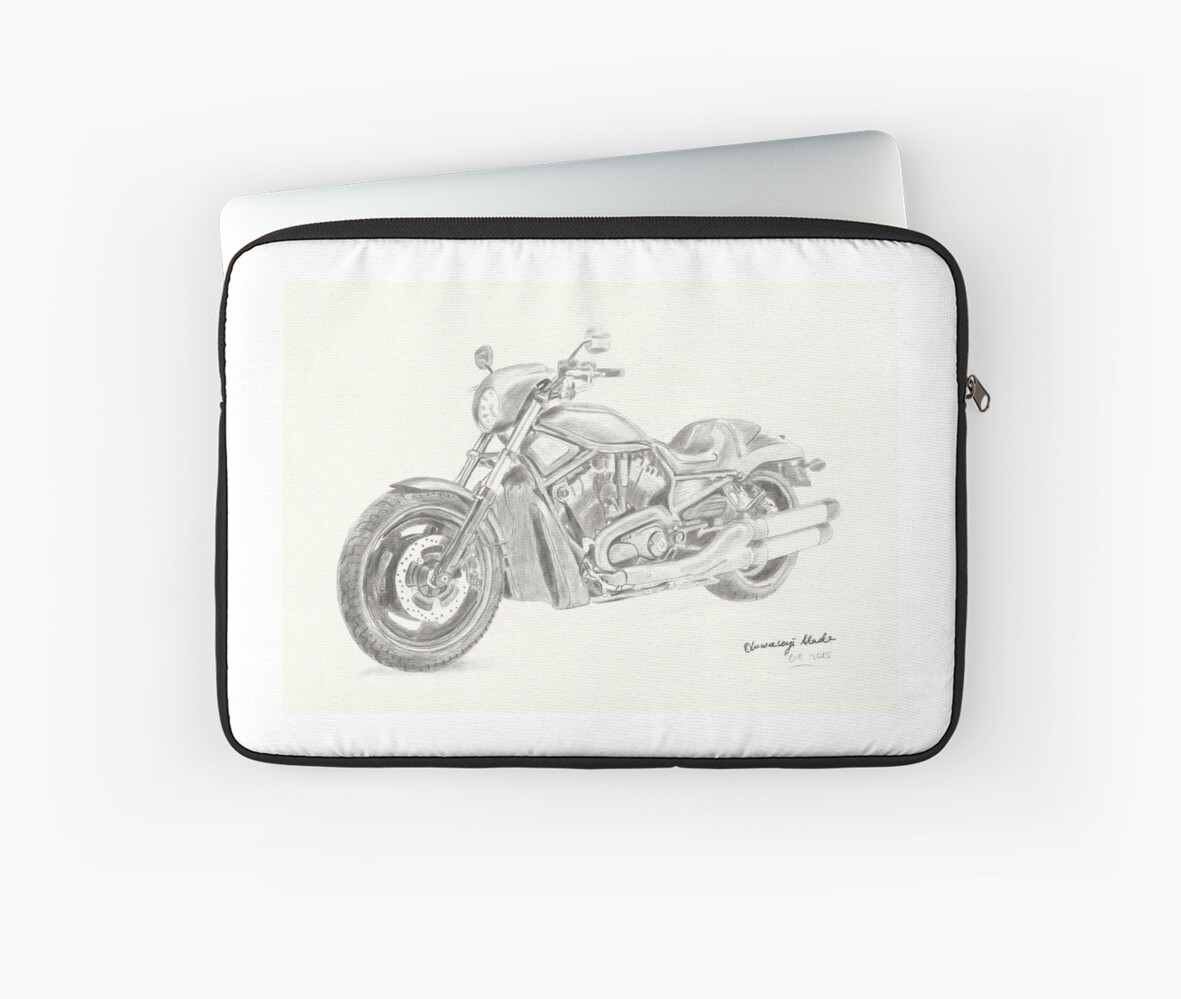 Harley davidson fat boy pencil drawing laptop sleeve by tqueen