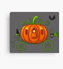 Pixel Pumpkin Carriage Canvas Print