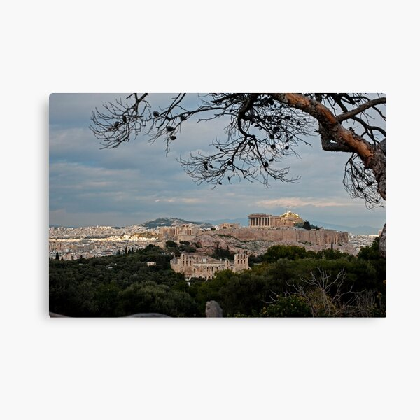 Athens Cityscape With Stormy Sky Canvas Print