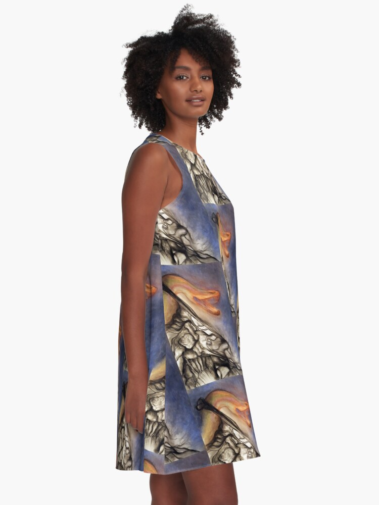 Alternate view of Crush. Adapted from the artist's oil pastel drawing. A-Line Dress