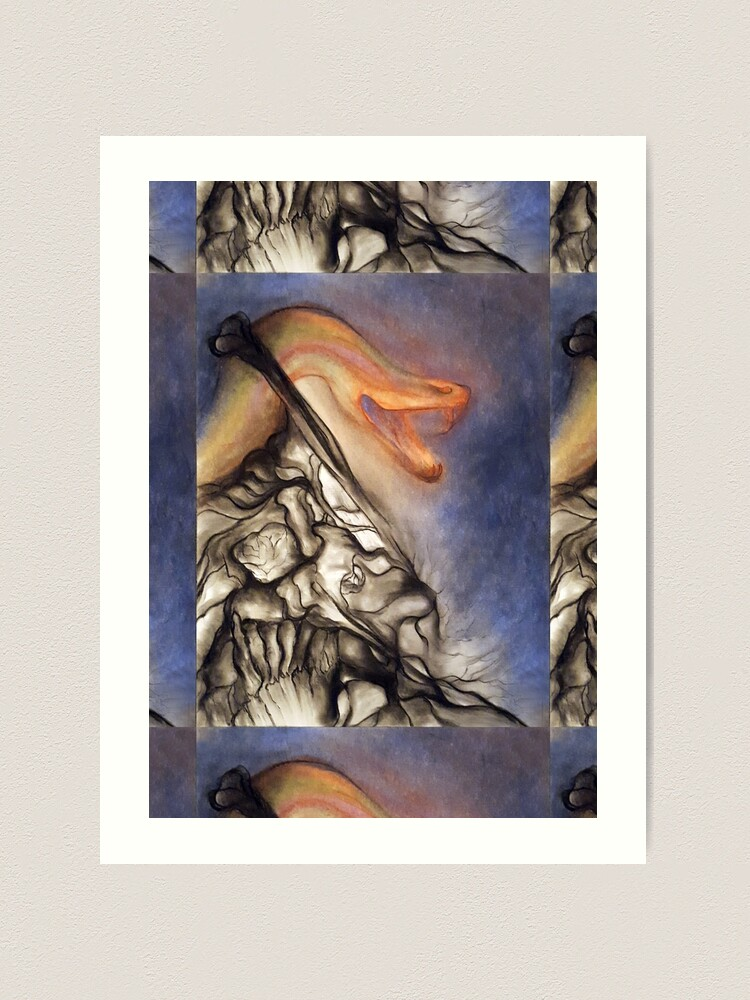 Alternate view of Crush. Adapted from the artist's oil pastel drawing. Art Print