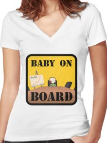 Baby on (Corporate) Board Women's Fitted V-Neck T-Shirt