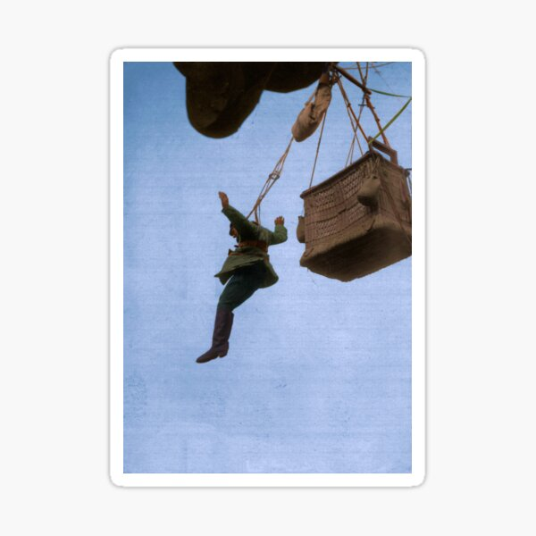 A German observer jumping from his observation balloon, 1917-1918 Sticker
