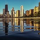 Chicago skyline with the camera half underwater by Sven Brogren