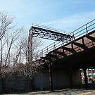 Abandoned Erie Railroad Embankment, Trestle, Signal Tower, Jersey City, New Jersey by lenspiro