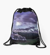 An old rusty 50's caddy in the moonlight by a cornfield Drawstring Bag