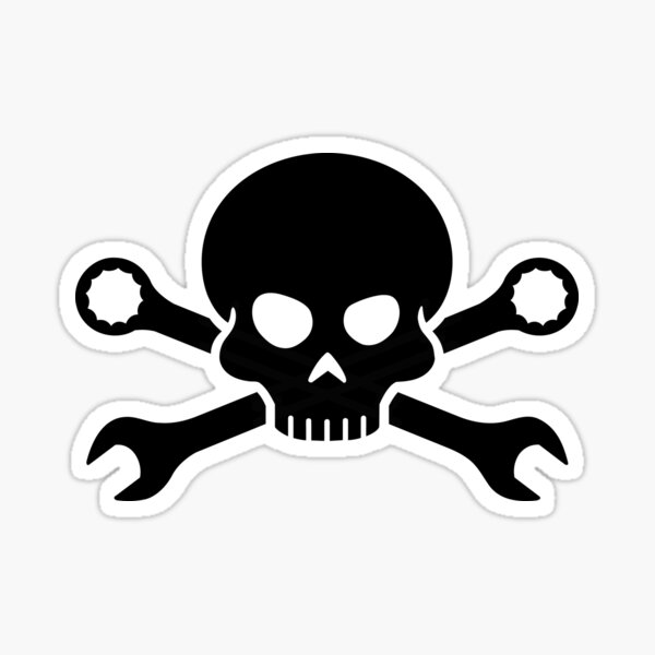 Skull 'n' Tools - Screw Pirate 1 (black) Sticker