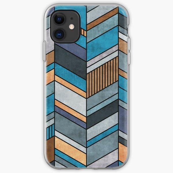 Colorful Concrete Chevron Pattern - Blue, Grey, Brown iPhone Soft Case