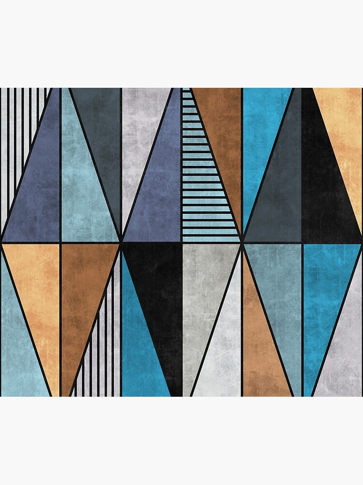 Colorful Concrete Triangles - Blue, Grey, Brown by ZoltanRatko