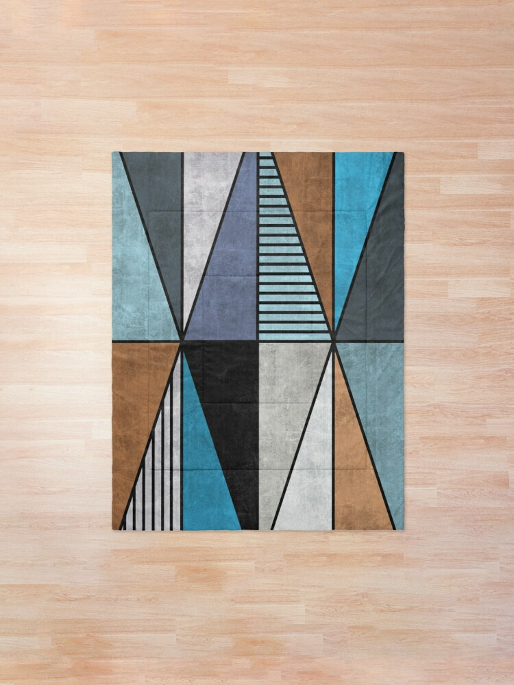 Alternate view of Colorful Concrete Triangles - Blue, Grey, Brown Comforter