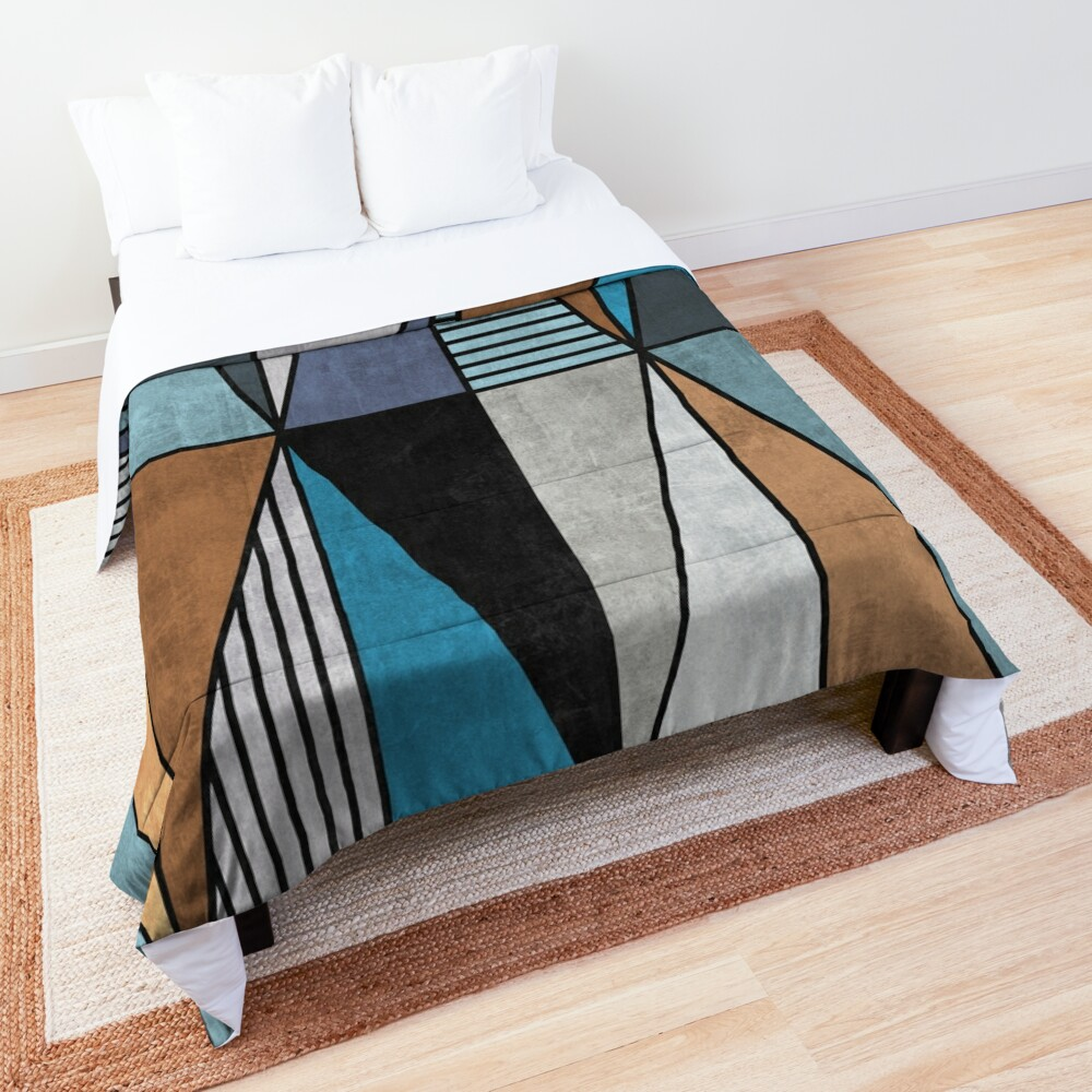 Colorful Concrete Triangles - Blue, Grey, Brown Comforter