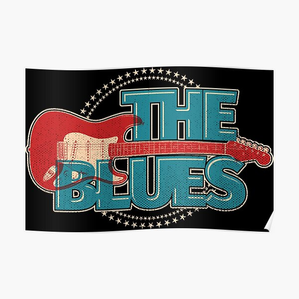 Vintage Style Blues Guitar With Stars  Poster