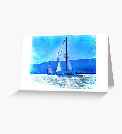 Sailing in the Sparkle of Blue Greeting Card