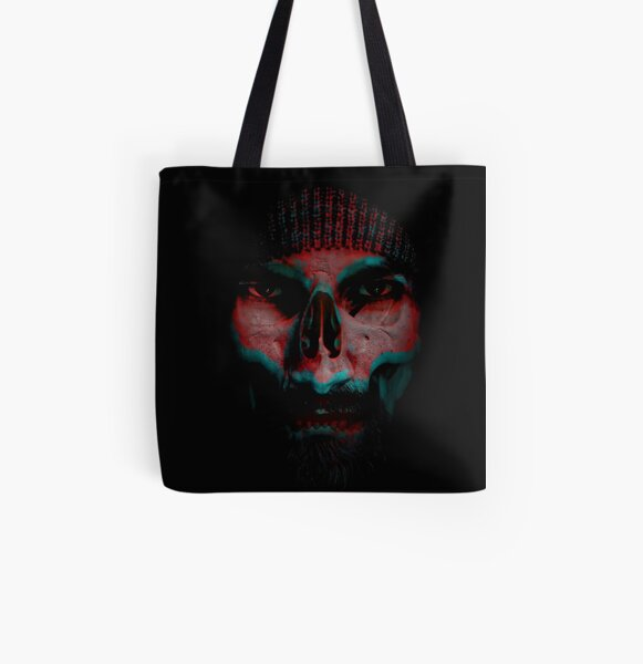 Biker Skull All Over Print Tote Bag