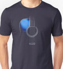 Blue Acoustic Guitar Hi-Lite Unisex T-Shirt