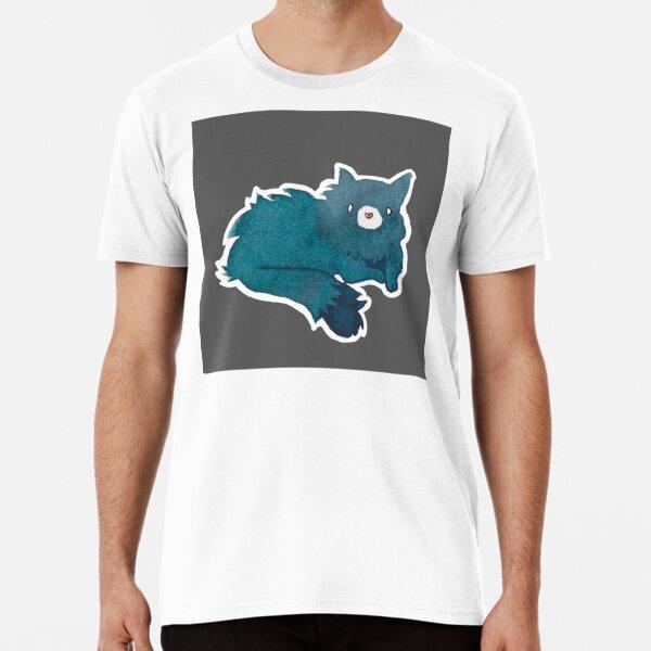 Blue Cat in The Dark | Simple Modern Watercolor Pattern Premium T-Shirt