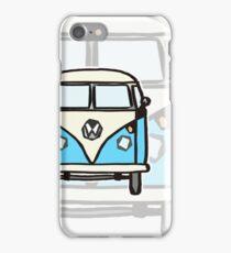 Blue White Campervan (slightly cubist) iPhone Case/Skin