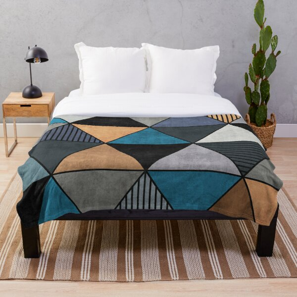 Colorful Concrete Triangles 2 - Blue, Grey, Brown Throw Blanket