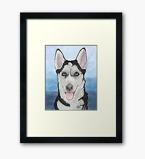 Siberian Husky Dog Portrait Cathy Peek Animal Art Framed Print