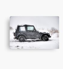 Jeep in the Snow Canvas Print
