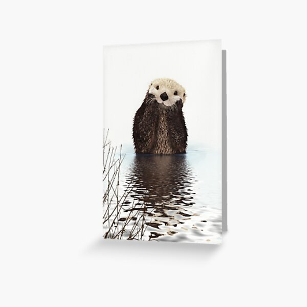 Adorable Smiling Otter in Lake Greeting Card