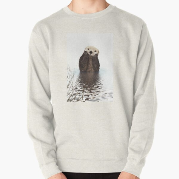 Adorable Smiling Otter in Lake Pullover Sweatshirt