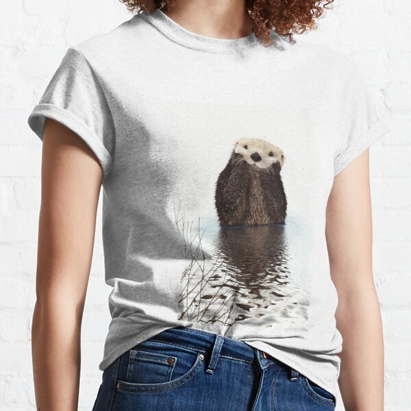 Adorable Smiling Otter in Lake Classic T-Shirt