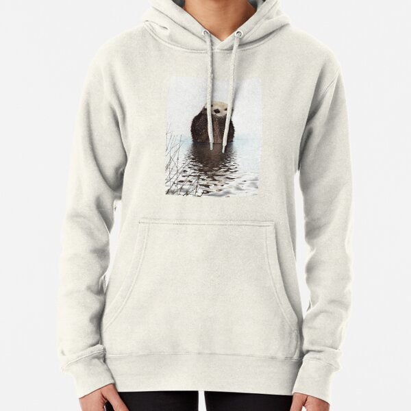 Adorable Smiling Otter in Lake Pullover Hoodie