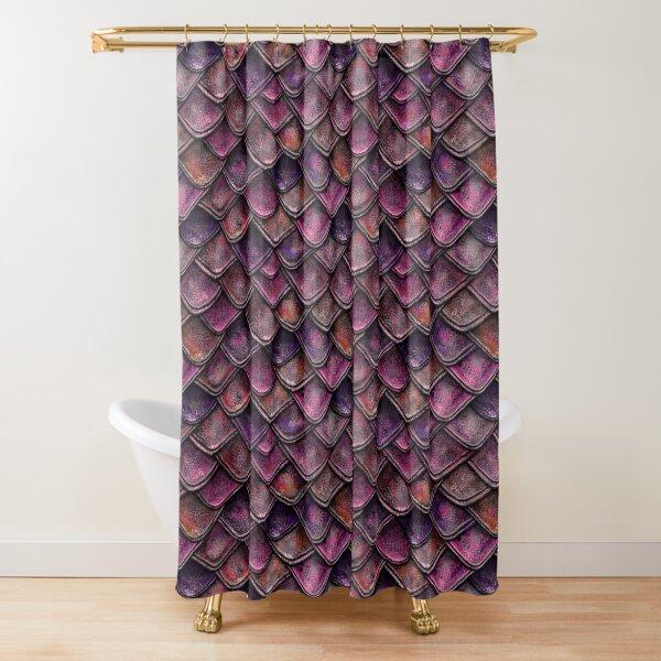 Fuchsia Pink Dragon Scales Shower Curtain