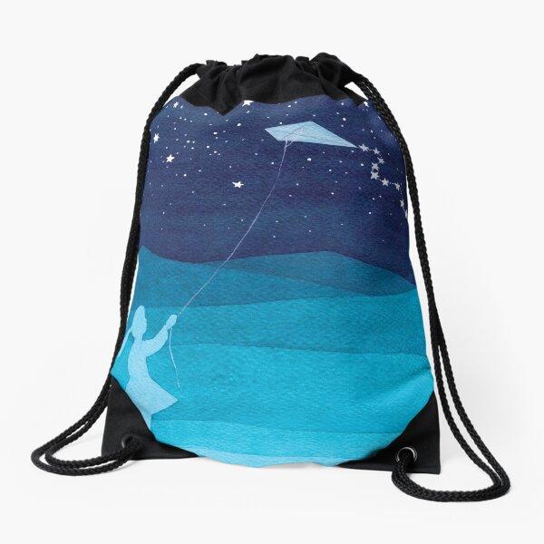 Girl with a kite, blue Drawstring Bag