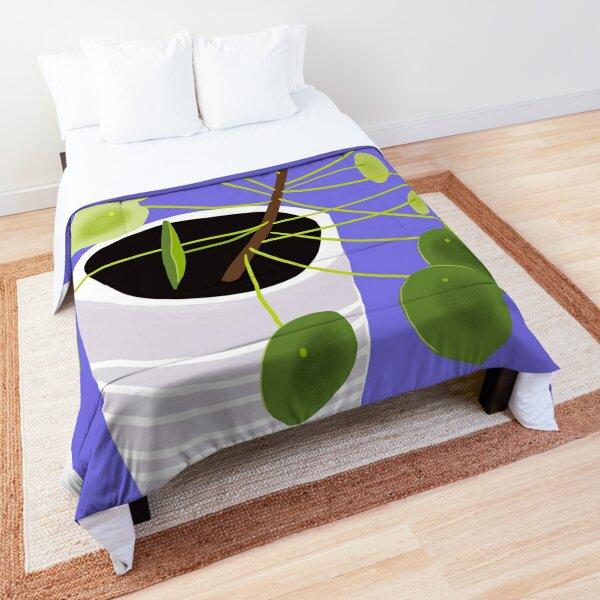 Pilea on Purple Comforter
