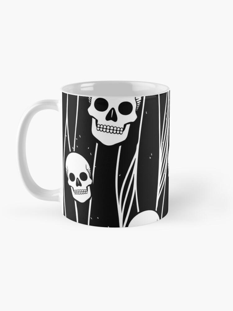 Alternate view of Skull Pattern • Black And White •  Mug