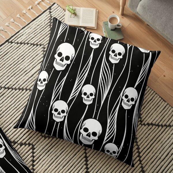 Skull Pattern • Black And White •  Floor Pillow