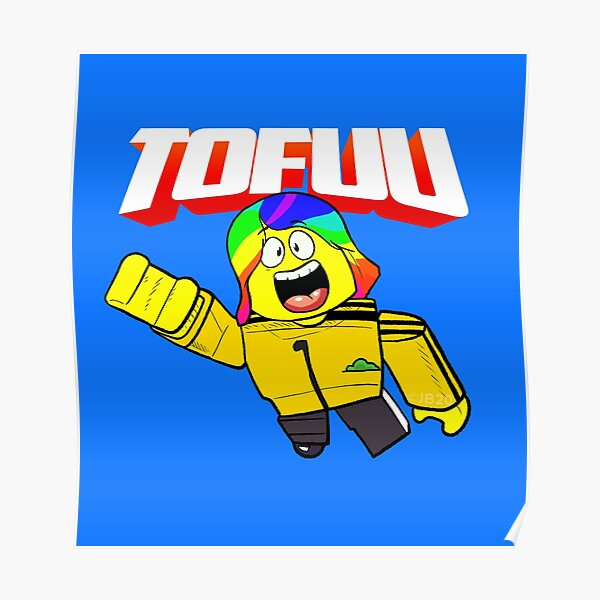 Flying Tofuu Character with Logo Poster
