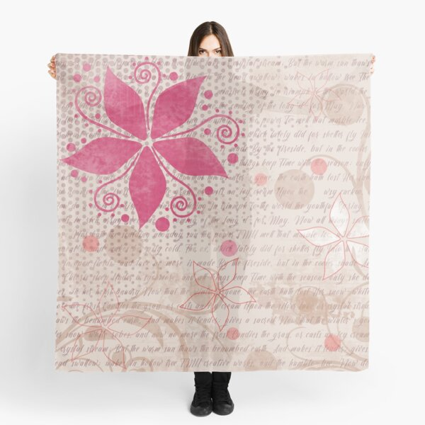 Floral Pattern in Pink and Light Tan Scarf
