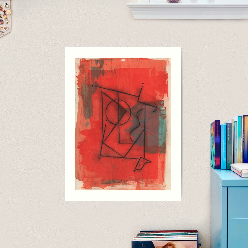 Artifact in Red by Claude S.   Acrylic and Ink on Paper   Modern Dada   Emotional Surrealism Art Print