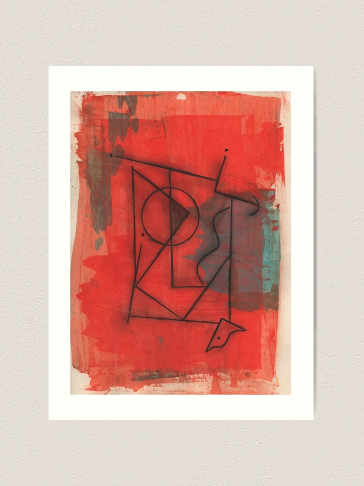 Alternate view of Artifact in Red by Claude S.   Acrylic and Ink on Paper   Modern Dada   Emotional Surrealism Art Print