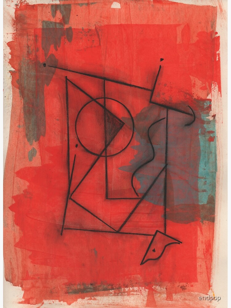 Artifact in Red by Claude S.   Acrylic and Ink on Paper   Modern Dada   Emotional Surrealism by endpop