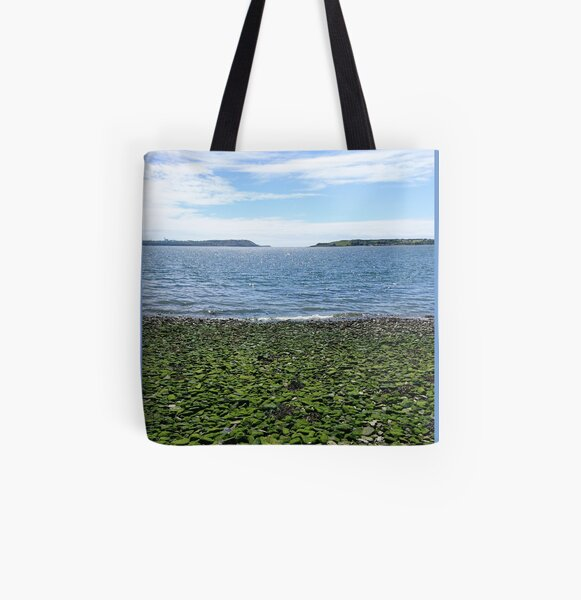 Green pebbles, sea and cloud, Cobh, Ireland (vertical) All Over Print Tote Bag