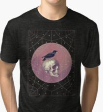 Crow and Skull Collage Tri-blend T-Shirt