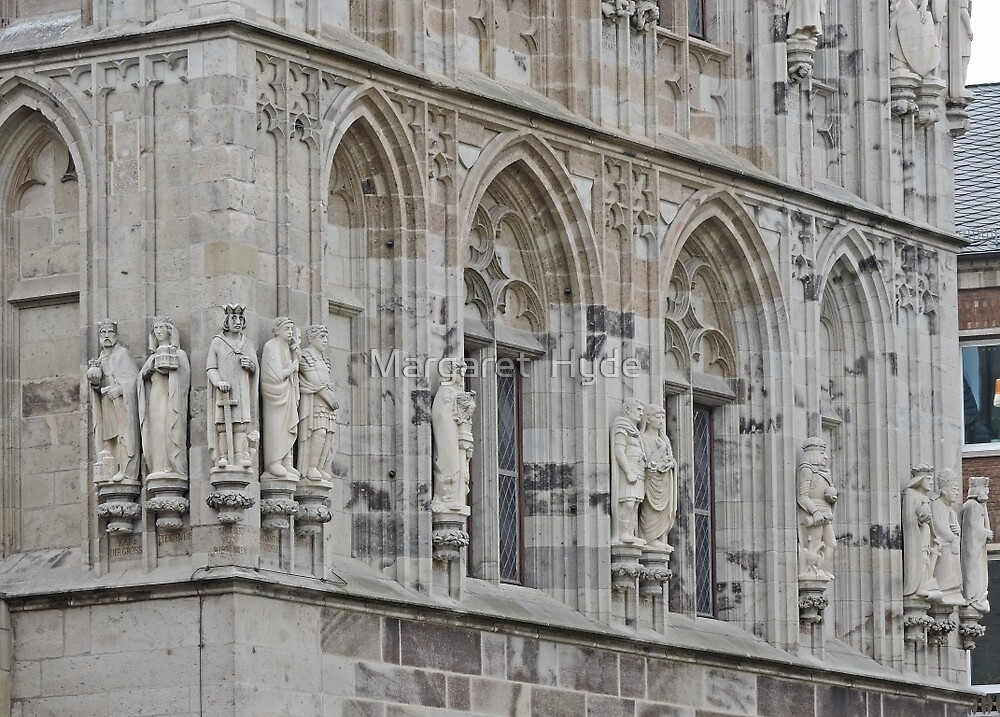 Figures, Town Hall tower, Cologne, Germany by Margaret  Hyde