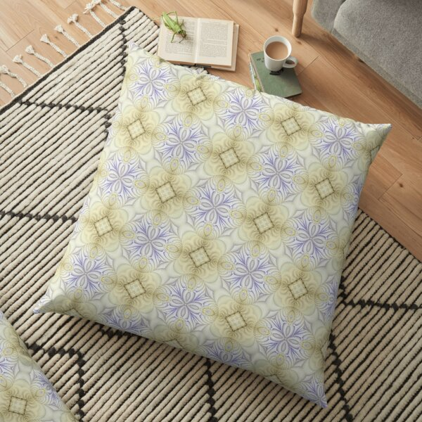 Delicate Blue and Gold Pattern Floor Pillow